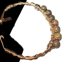 Jasper Beaded Cuff Bracelet Gold Twisted Wire Signed Canvas Vintage 1990s