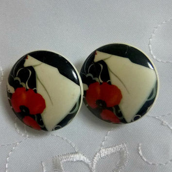Vogue Poppy Silhouette Earrings Clip Back Vintage Flower Floral Poppies Lady Boho Jewelry Celluloid Plastic Retro ClipOn Floral 60's Clips