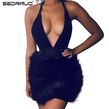 75fcc992b5e Women Winter Dress 2016 Ladies Sexy Deep V Neck Bodycon Faux Fur Trim  Backless Mini Black