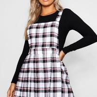 Plus Checked Pinafore Dress | Boohoo