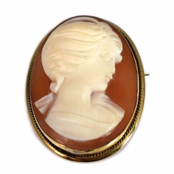 Vintage 18k Gold Cameo Pendant or Brooch Italy Signed Convertible Setting c1920