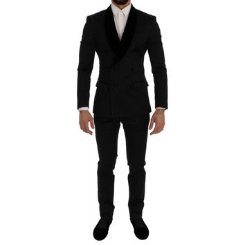 Dolce & Gabbana Black Brocade Double Breasted Slim Suit