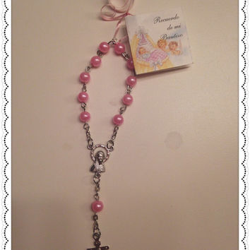 24 Personalized Mini Pink Pearl Rosary Favors with White Organza Gift Bag Baptism/Communiom Recuerdos  de Bautizo