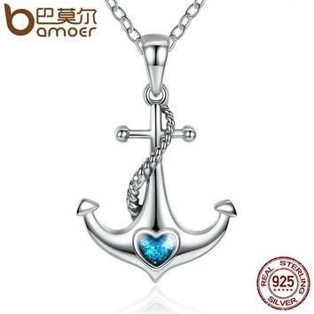 Classic 925 Sterling Silver Blue Heart Crystal Anchor Pendant Necklaces Women Fashion Jewelry Engagement SCN051