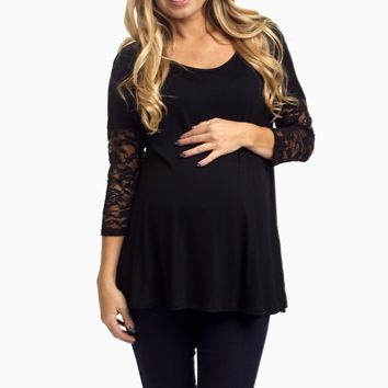 Black-Lace-Sleeve-Maternity-Top