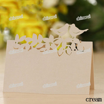 love bird vine pearl invitation place paper card table Decoration Wedding Party Event Decors festival favor Wholesale