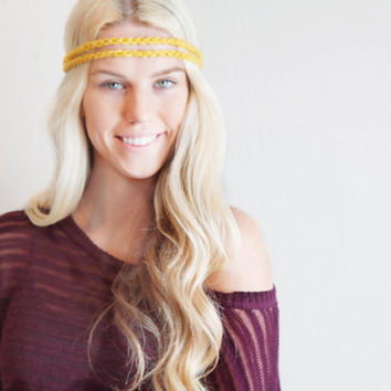 Double Strand Headband Double Braid Hair Band Hippy Style Boho Music Festival Hairwrap in Mustard Yellow