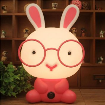 Cute Night Light Baby Room Wearing Glasses Rabbit Cartoon Night Sleeping Light Kids Bed Lamp Night Sleeping Lamp