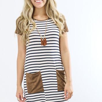Mockingbird Song Striped Tee Shirt Dress With Contrast Suede Details