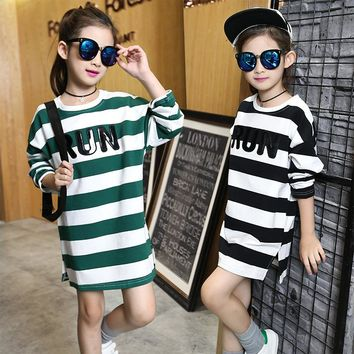 princess clothes Cotton kids Striped party mini shirt dress Teen girl 4 8 10 12 14 year Autumn winter long sleeve sport dresses