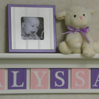 "Personalized Childern Nursery Decor 24"" Shelf With 6 Letter Wooden Tiles Painted Linen White, Light Pink and Lilac - ALYSSA"
