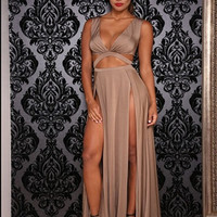 Sexy Sleeveless V-neck High Waist Hollow Out Long Maxi Dress