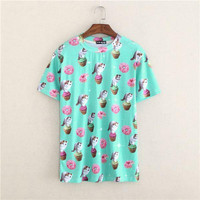 Cute cats 3D pattern women tshirt 2015 novelty printed t-shirt girls summer dress top tees ice scream high quality free shipping