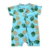 Summer Pineapple Printed Baby Clothes Newborn Toddler Romper with Zipper Short Sleeve Clothes for Babies