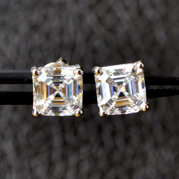 Sterling Silver Studs earrings, 2.0ct Asscher Cut studs, sterling silver CZ stud earrings