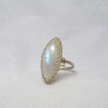 Rainbow Moonstone Silver Ring, Sterling Silver Wire Wrapped Adjustable Ring