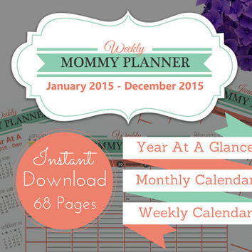 2015 Weekly Mom Planner - 52 Week Agenda - Instant Downloadable Planner