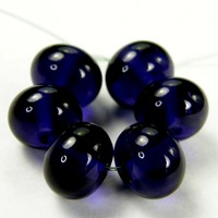 Transparent Ink Blue Handmade Lampwork Glass Beads 058 Shiny (Choices of Etched, .999 Fine Silver, Shapes, Sizes, Large Hole Beads Extra)