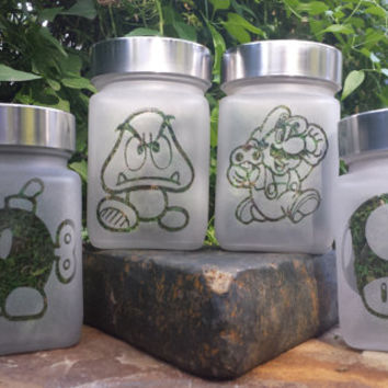 Twisted Super Mario Collection - Set of 4 Mario Brothers Inspired Stash Jars- Free UPGRADE to Priority Mail within the US