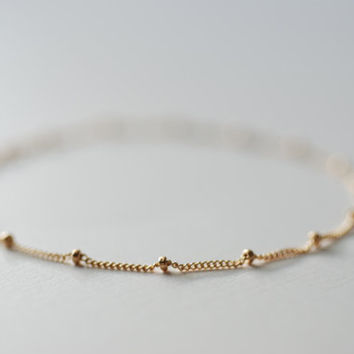 Gold Satellite Bracelet- Gold Filled Beaded Bracelet, Beaded Chain, Dainty Bracelet, Delicate Bracelet, Simple Jewelry by HeirloomEnvy
