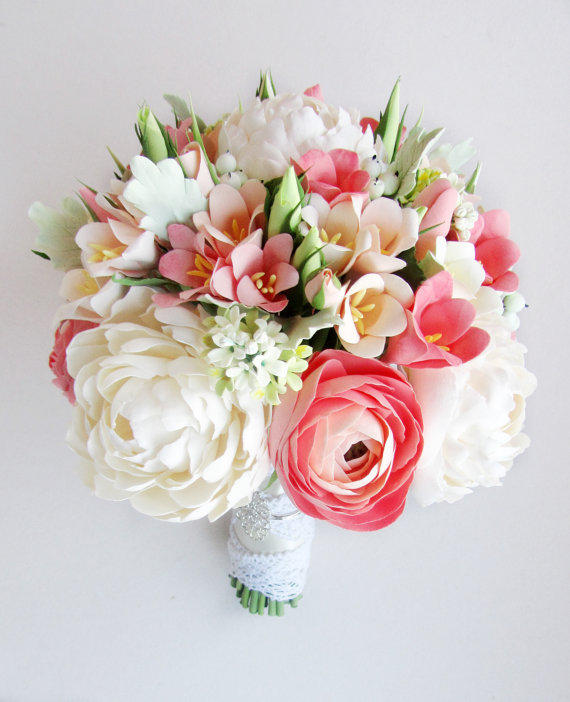 Coral, mint bridal bouquet and from FlowersofSharon on Etsy