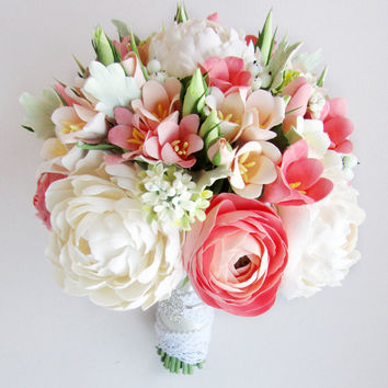 Coral, mint bridal bouquet and boutonniere. Coral bouquet, ivory peony, peach freesia. Alternative bouquet, real touch flowers