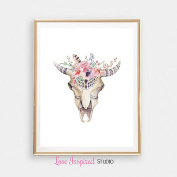 Boho Skull Print Gift Printable Floral Home Decor Wall Print Girls Room Nursery Art Digital Download Photo Boho Print