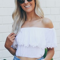 Off The Shoulder Lace Crop Top White