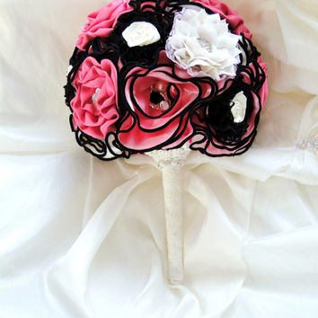 Wedding Bridesmaid Bouquet Pink Ivory & Black Vintage Victorian Style Wedding Bouquet Satin and Lace Flowers In Stock Ready to Ship