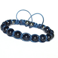 Blue Goldstone and Hematite, Handmade Shamballa Bracelet, Navy Blue Gemstone Adjustable Bracelet