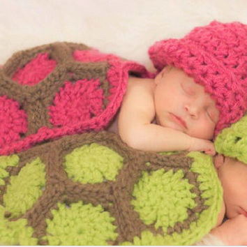 Crochet Knit Baby Photo Props, Crochet Pink Turtle Hat, Newborn Knit Photo Props, Crochet Knit Baby Beanie Hat Costume, Baby Shower Gift