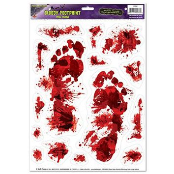 Beistle Bloody Footprints Peel 'N Place Sheet, 12 by 17-Inch, Multicolor
