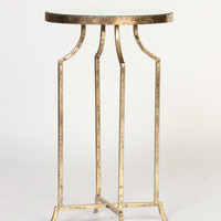 Round Accent Table with Mirror Top in Gold-Leafed Finish