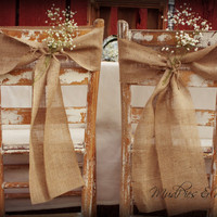 Set of 2 Burlap Chair Sashes, Rustic Wedding Decor