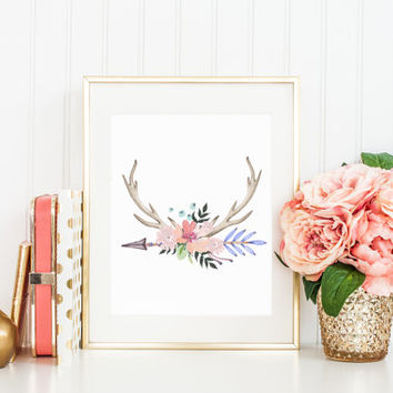 Antlers Tribal Arrow Flowers Watercolor Printable Sign,  Deer Horn Floral Print Digital Wall Art Template Instant Download 8x10