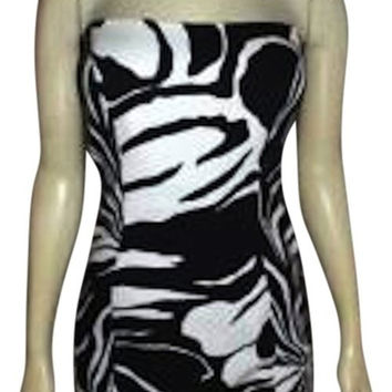 Tadashi Shoji Sleeveless Cocktail Dress Black White Size 4 P124