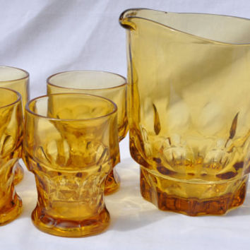 Vintage Anchor Hocking Honey Gold Georgian Water Glasses Tumblers Set of 4