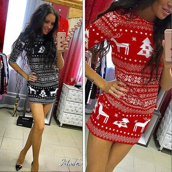 Autumn three Quarter dress sexy casual o-neck fashion Christmas deer printed floral mini dress