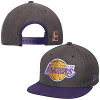 New Era Los Angeles Lakers Charcoal Purple Original Fit 9fifty Snapback Hat Cap
