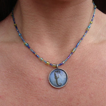 Seahorse Necklace with Ice Blue and Lime Green Glass Beads and Pewter Heart Toggle/Clasp, For Her