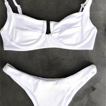 Ribbed Bikini 2018 Sexy Swimsuit Women's Swimming Suit Eyelet Swimwear Women Swimsuits Biquini Brazilian Bikini Set Bikinis
