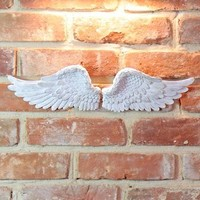 Small Distressed White Angel Wings