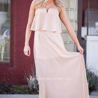 Easy On The Heart Strapless Chiffon Dress (Nude)