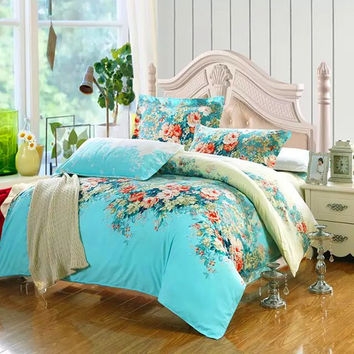 2015 4/3Pcs Bedding-set Cotton Bedding Set King Size Bed Sets Sheets Duvet Cover Linens Quilt Pillow No Comforter Free Shipping