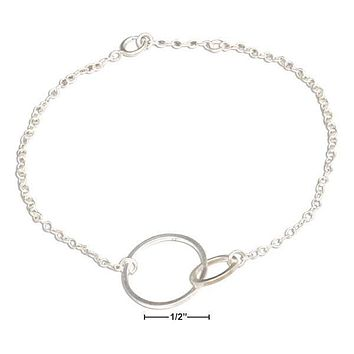 "STERLING SILVER 7"" INTERLOCKING LINKED LOVE CIRCLES BRACELET"