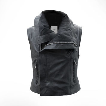Womens Black Leather Biker Gilet by J.O.D UK10