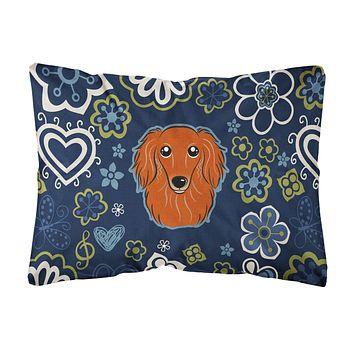 Blue Flowers Longhair Red Dachshund Canvas Fabric Decorative Pillow BB5065PW1216