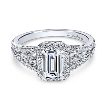14K White Gold 1.49cttw Vintage Inspired Emerald Cut Halo Diamond Engagement Ring