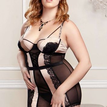 iCollection Lingerie Plus size Mesh, Microfiber And Scallop Lace Chemise With Molded Underwire Cups