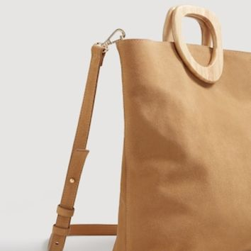 Wooden handle leather bag - Women | MANGO USA